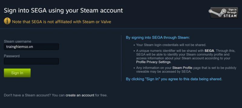 Liên kết tài khoản Steam