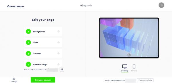 Onescreener: Cách tạo trang web quảng cáo miễn phí 3