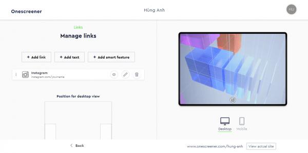 Onescreener: Cách tạo trang web quảng cáo miễn phí 5