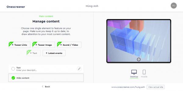 Onescreener: Cách tạo trang web quảng cáo miễn phí 6