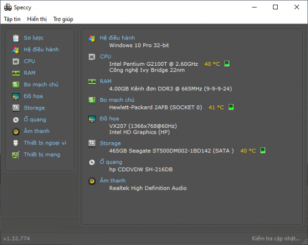 Speccy: Xem thông tin phần cứng máy tính Windows chi tiết 2