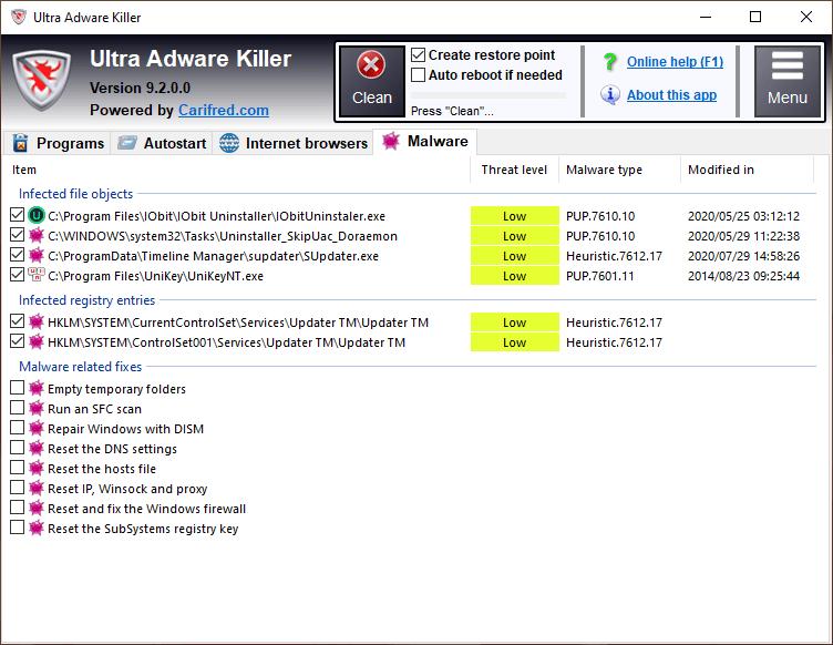 Ultra Adware Killer: tìm và diệt phần mềm quảng cáo trên PC