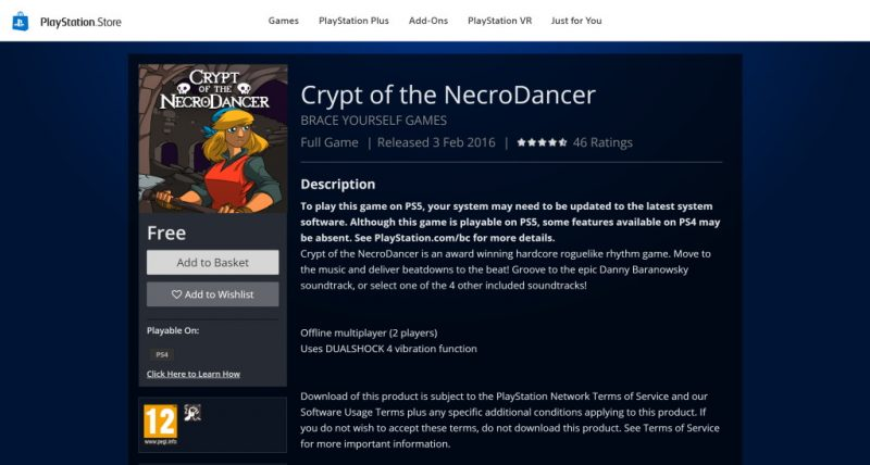Đang miễn phí game Crypt of the NecroDancer cực hay cho PlayStation 4?