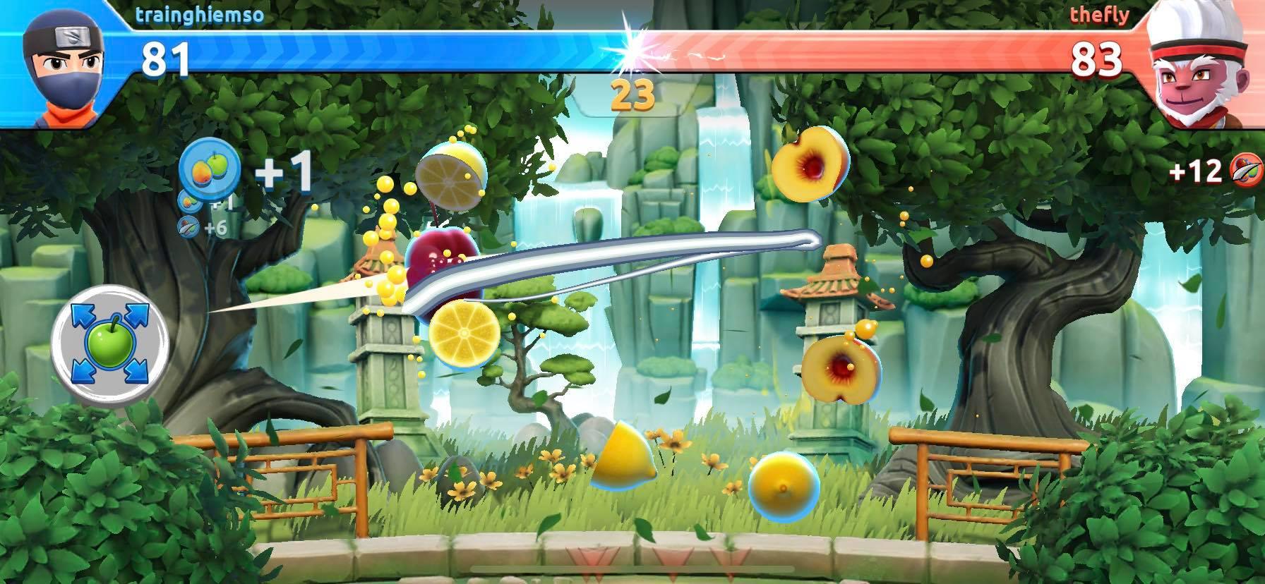 Thi đấu với gamer khác trong Fruit Ninja 2