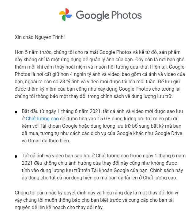 Google Photos sắp hết miễn phí
