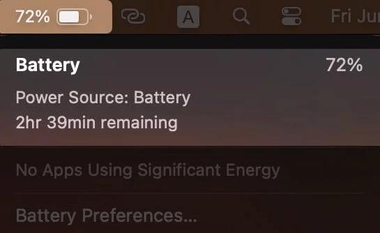 Kiểm tra ước tính thời gian còn lại của pin từ thanh menu trong macOS Big Sur