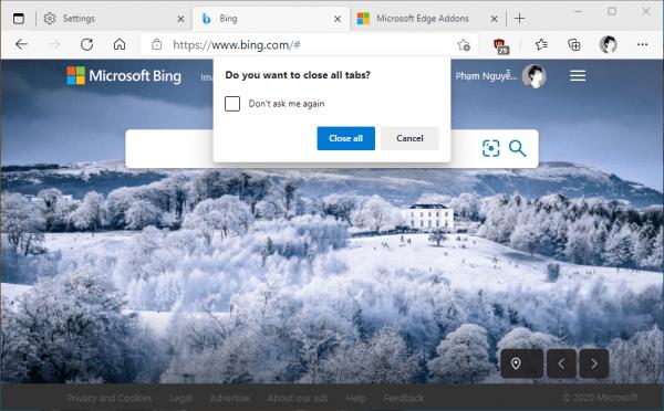 Cách ngăn đóng cửa sổ Microsoft Edge