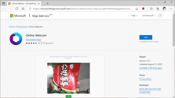 Online Webcam: theo dõi và chụp hình trên Microsoft Edge 1