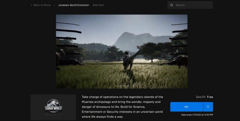 Đang miễn phí game Jurassic World Evolution