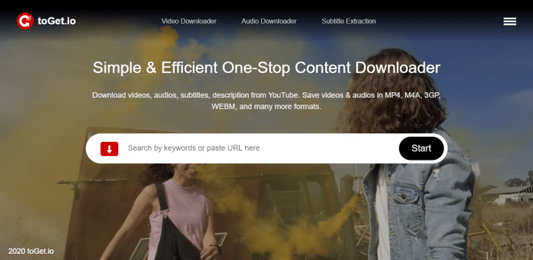 toGet.io: Tải video YouTube, phụ đề và tệp âm thanh miễn phí 1