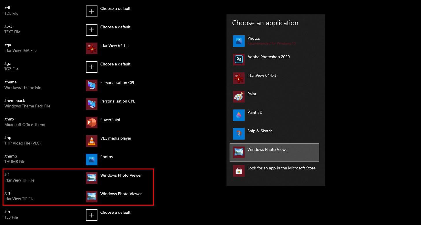 Windows Photo Viewer cho file TIFF