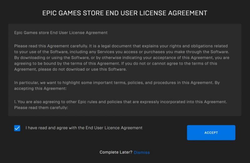 Thỏa thuận người dùng cuối của Epic Games Store