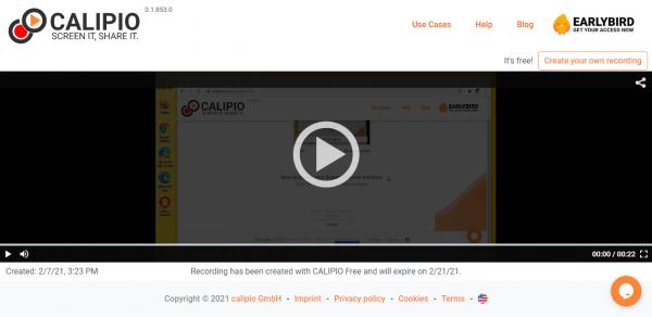 Dùng CALIPIO Screen Recorder quay, chia sẻ video màn hình
