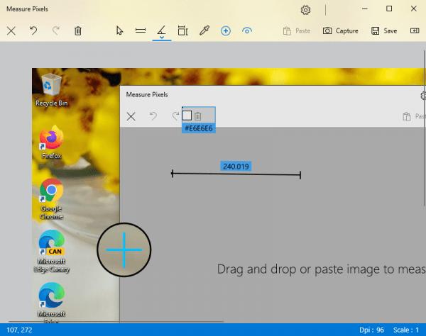 Measure Pixels: Ứng dụng đo khoảng cách, đo góc, xem mã màu,... hình ảnh trên Windows 10