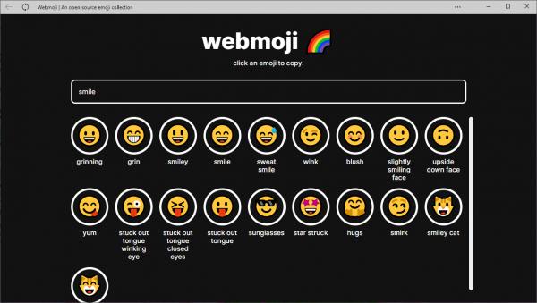 Webmoji: Thư viện biểu tượng cảm xúc dễ tìm, dễ copy