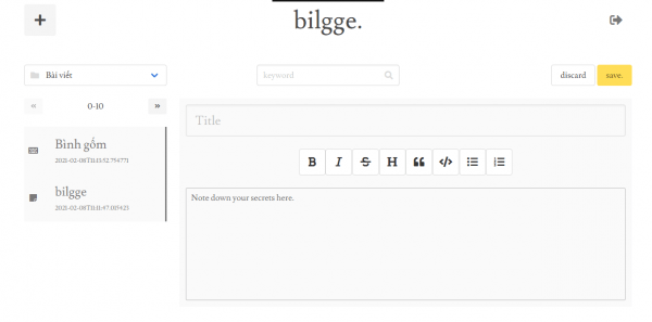 bilgge: A place where you can write and store notes with confidence