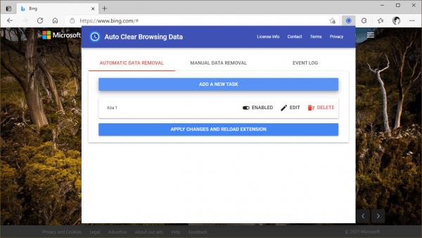 Auto Clear Browsing Data: xóa lịch sử duyệt web tự động