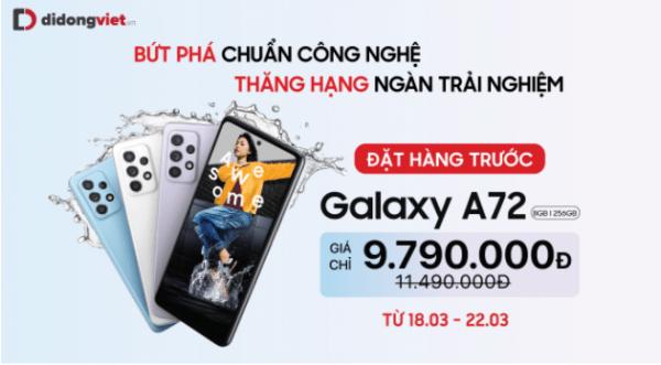 Đặt trước Galaxy A52, A72 tại Di Động Việt với mức giá ưu đãi chỉ từ 7,9 triệu đồng