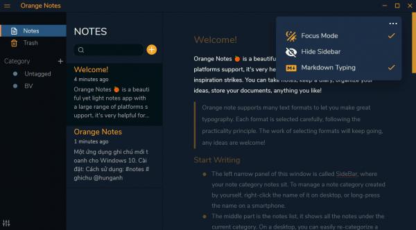 Orange Notes: Ứng dụng ghi chú có chế độ đọc Focus, sao lưu & đồng bộ,...