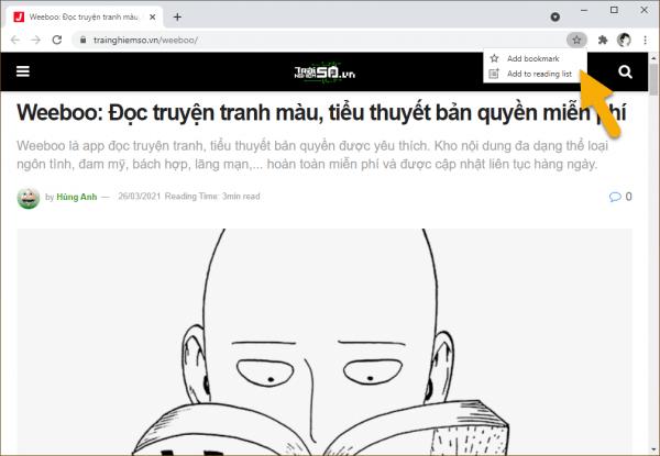 Cách bật thanh hiển thị danh sách đọc Reading list trên Chrome
