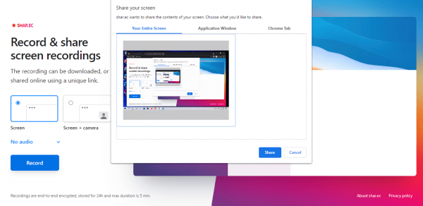 Shar.ec: Quay, chia sẻ video màn hình an toàn