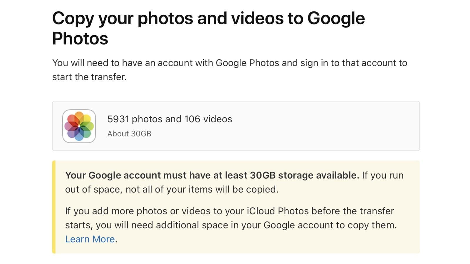 Chuyển iCloud qua Google Photos