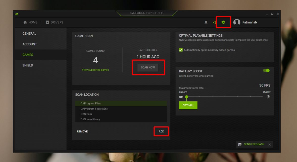 nVidia Geforce Experience add game