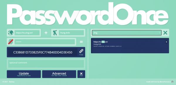 PasswordOnce: Tạo, cất giữ mật mã tài khoản web