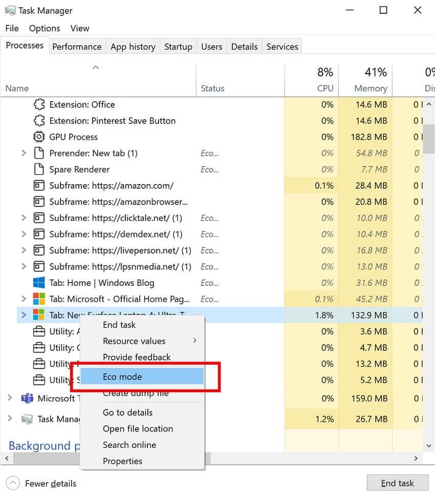 Eco Mode Windows 10