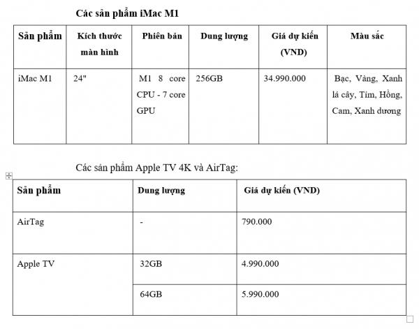 iPad Pro M1 và iMac M1 mới có giá dự kiến từ 21,99 triệu, AirTag giá chỉ 790.000 đồng, iPhone 12 màu mới sẽ lên kệ từ tháng 6