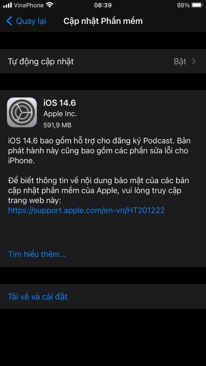 Cập nhật iOS 14.6