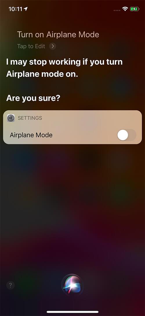 Yêu cầu Siri bật Chế độ trên máy bay trên iPhone