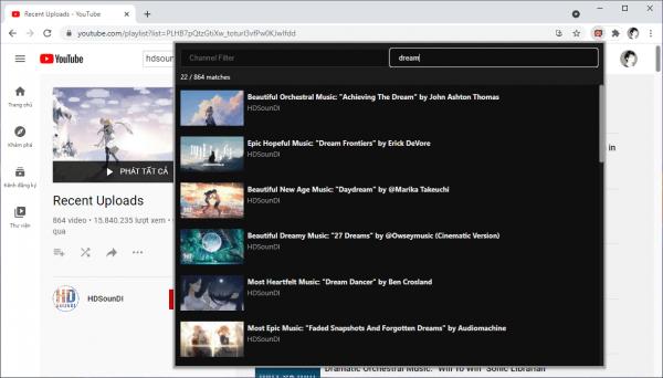 Cách tìm nhanh video trong danh sách phát có hàng ngàn video YouTube