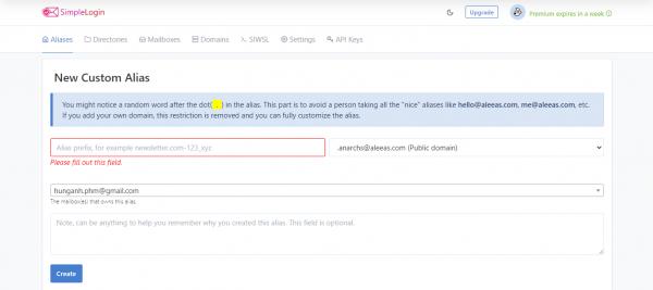 SimpleLogin: Bảo vệ email của bạn trước spam khi đăng ký tin
