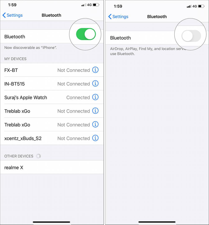 Tắt Bluetooth cho các thiết bị được ghép nối khác
