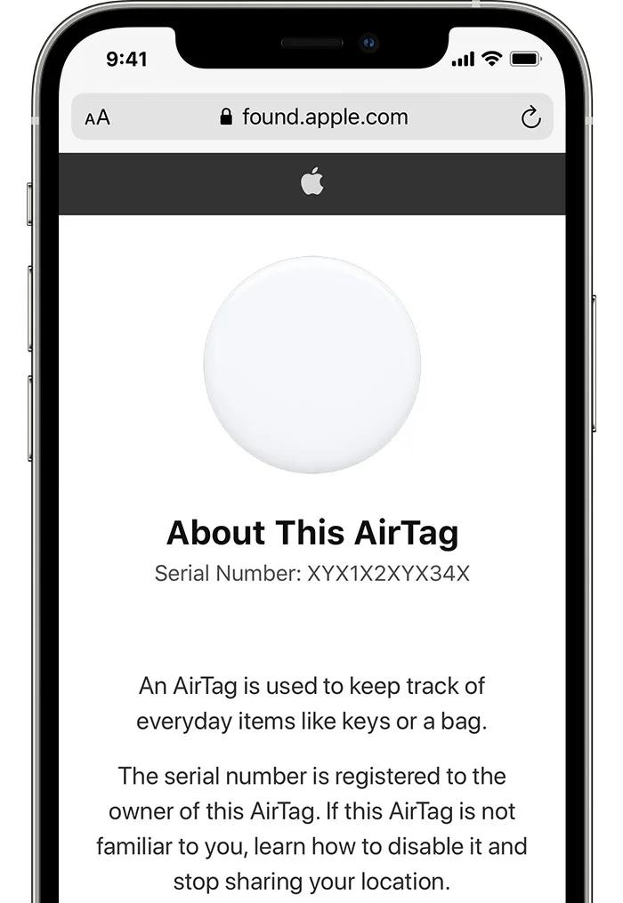 Cách tìm số seri trên một AirTag bất kỳ