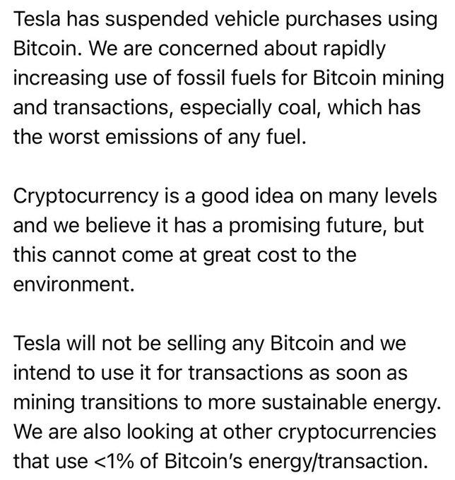 Tesla ngừng cho phép mua xe bằng bitcoin