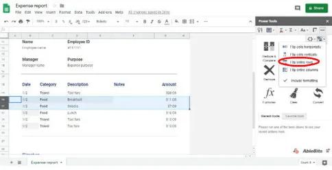Cách hoán đổi giá trị giữa các ô, hàng hoặc cột trong Google Trang tính