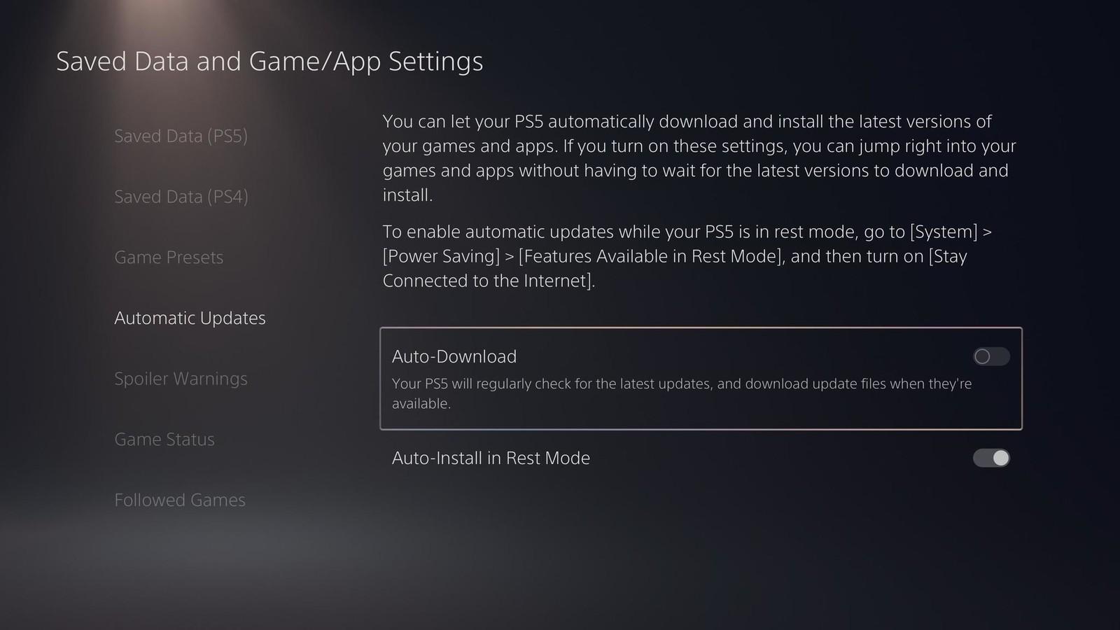 Cách tắt tự động cập nhật game trên Playstation 5