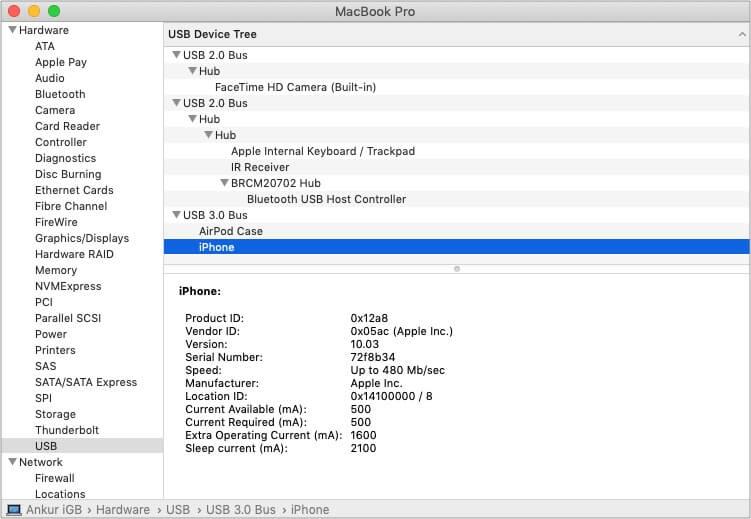 Sử dụng công cụ System Information trên máy Mac để kiểm tra kết nối