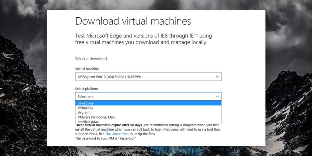 Tải máy ảo Windows 10 VM từ Microsoft