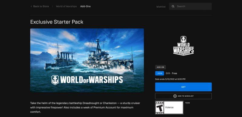 Đang miễn phí game World of Warships: Starter Pack Pine