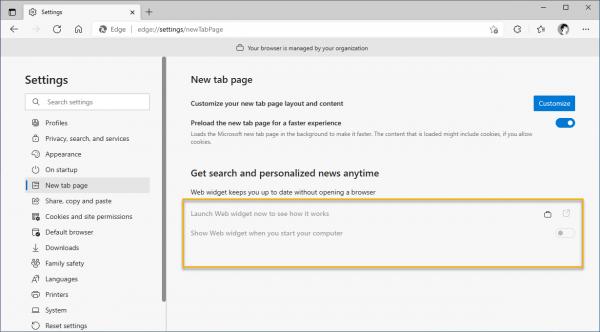Cách tắt Web Widget trên Windows 10