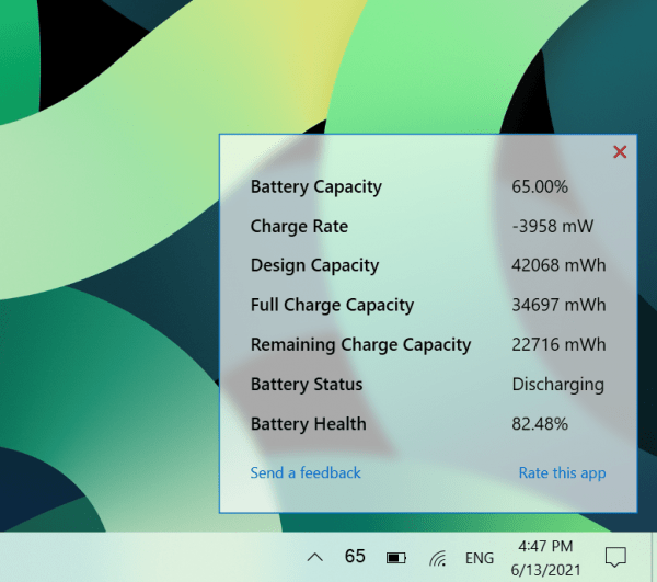 How to see the battery capacity of Windows 10 computers without clicking and dragging