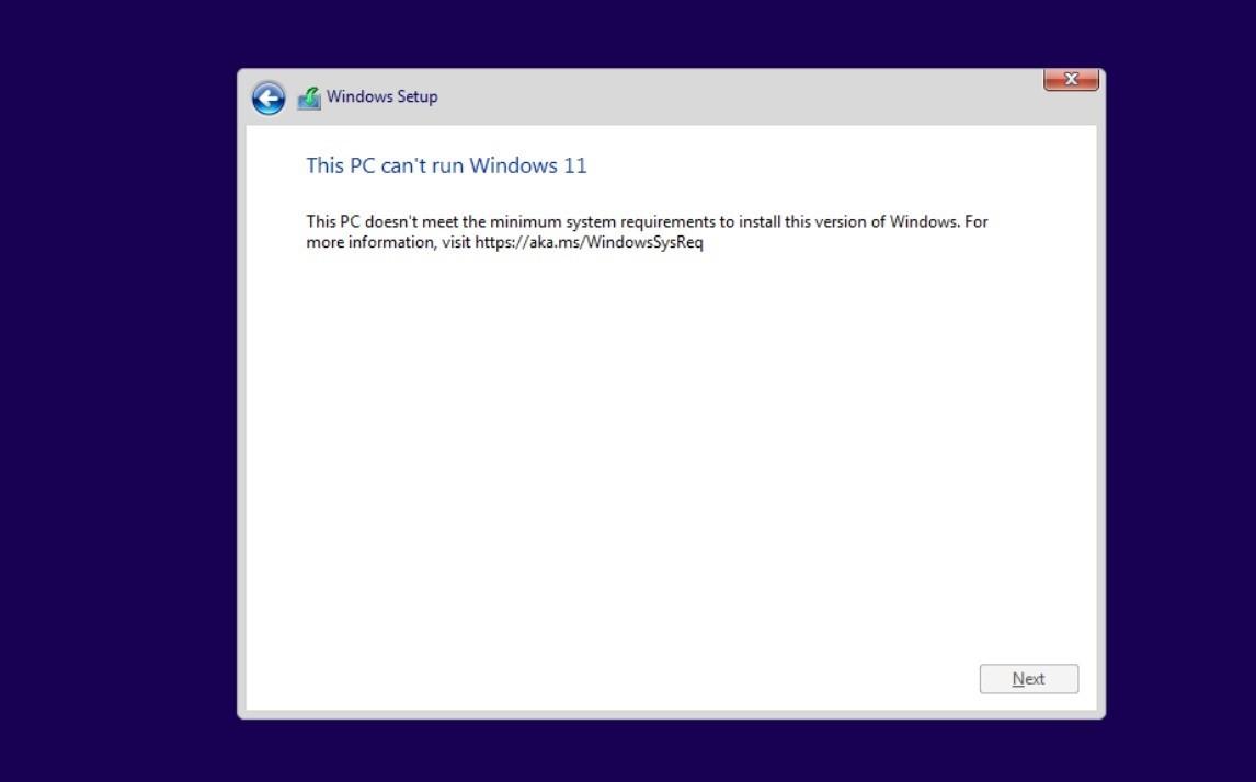 Thông báo không tương thích Windows 11