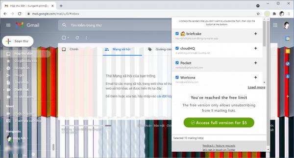 DetoBox: Hủy đăng ký hàng loạt bản tin email trên Gmail