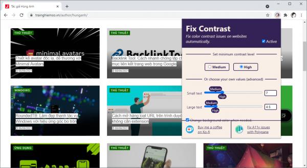 Fix Contrast: Cải thiện chất lượng hiển thị văn bản trên trang web