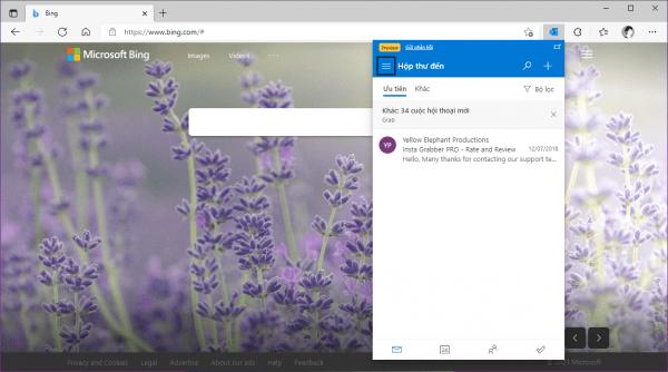 Xem, soạn thư Outlook, lên danh sách việc cần làm bằng tiện ích Microsoft