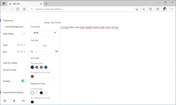 Biến trang New Tab của Microsoft Edge thành nơi ghi chú có khả năng nhập/xuất