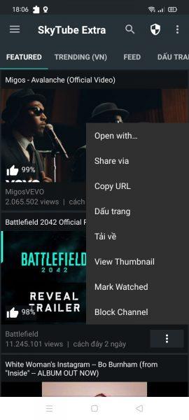 SkyTube: Xem video YouTube không quảng cáo, tải và lưu vào thiết bị Android